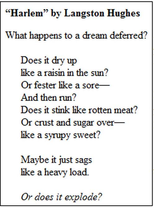 harlem a dream deferred hughes raisin in the sun rm  harlem a dream deferred by langston hughes